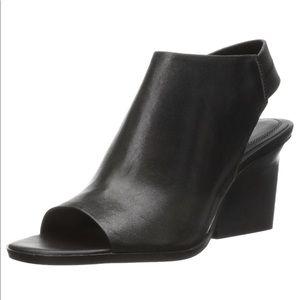 Calvin Klein open toe leather wedge heels sandals